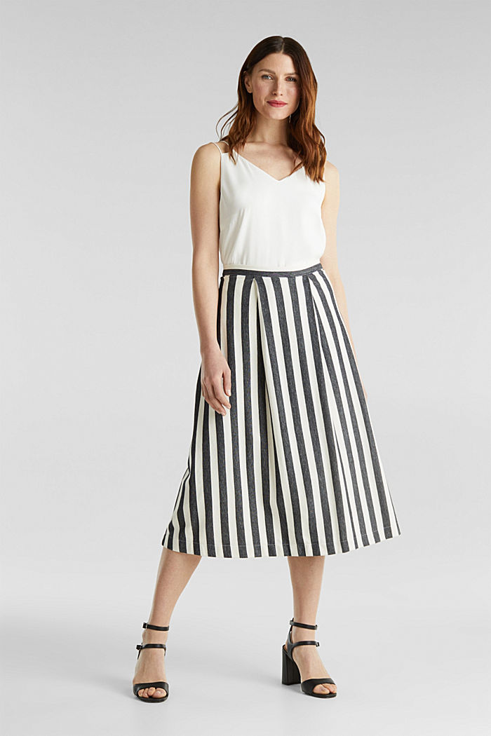 Midi skirt with front pleats, BLACK, detail image number 0