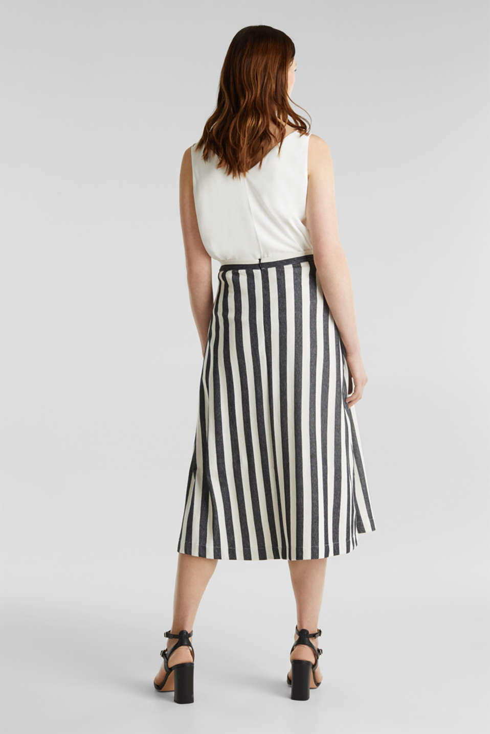 Midi skirt with front pleats, BLACK, detail image number 3
