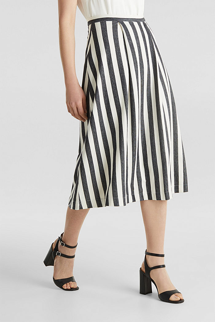 Midi skirt with front pleats, BLACK, detail image number 5