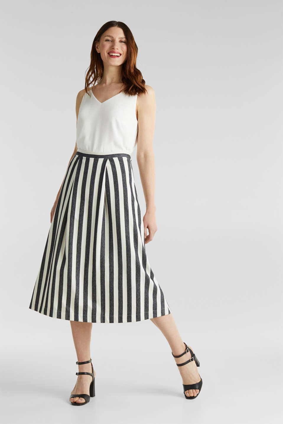 Midi skirt with front pleats, BLACK, detail image number 1