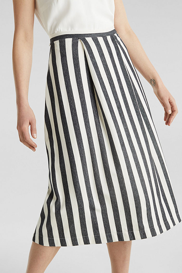 Midi skirt with front pleats, BLACK, detail image number 2