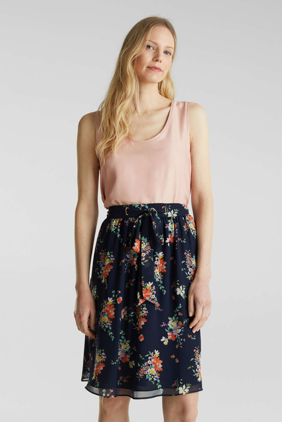 Skirt in floral crêpe chiffon, NAVY 4, detail image number 0