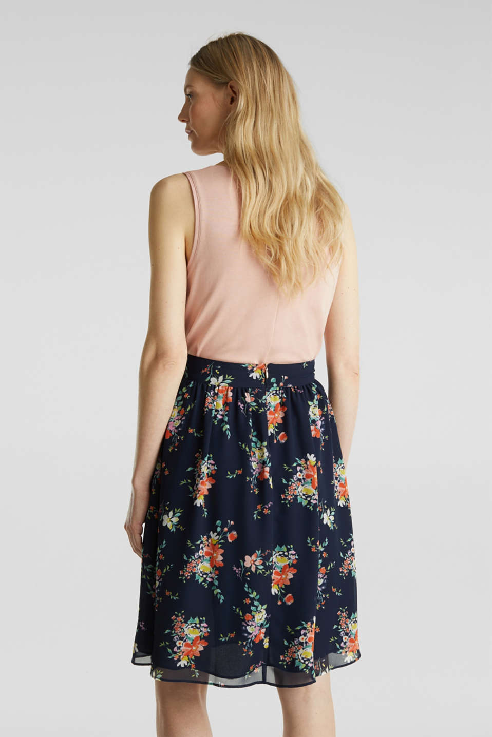 Skirt in floral crêpe chiffon, NAVY 4, detail image number 3