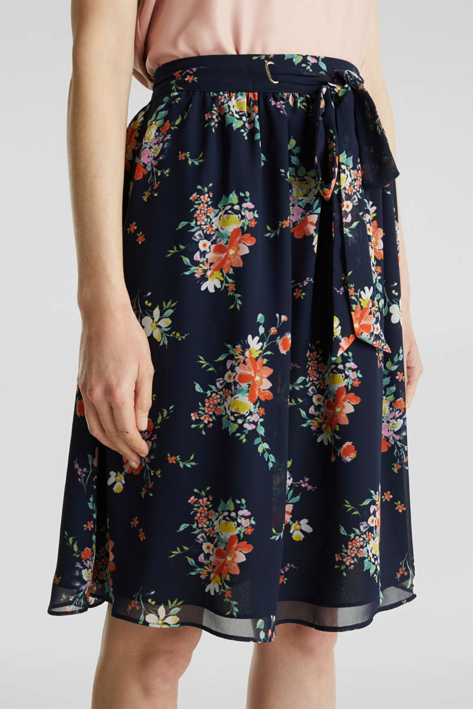 Skirt in floral crêpe chiffon, NAVY 4, detail image number 6