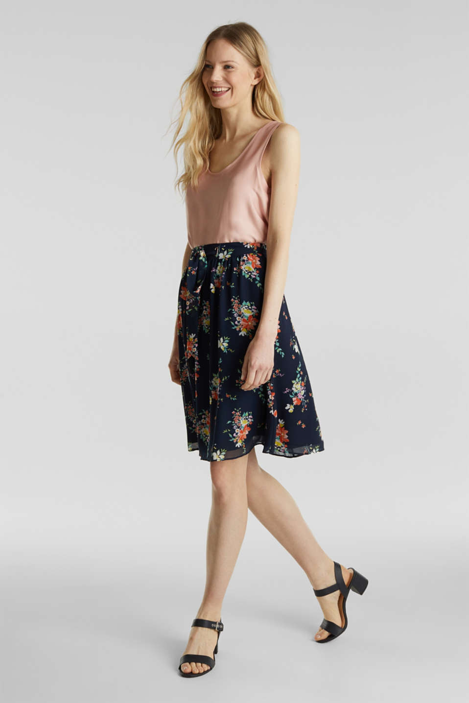 Skirt in floral crêpe chiffon, NAVY 4, detail image number 1