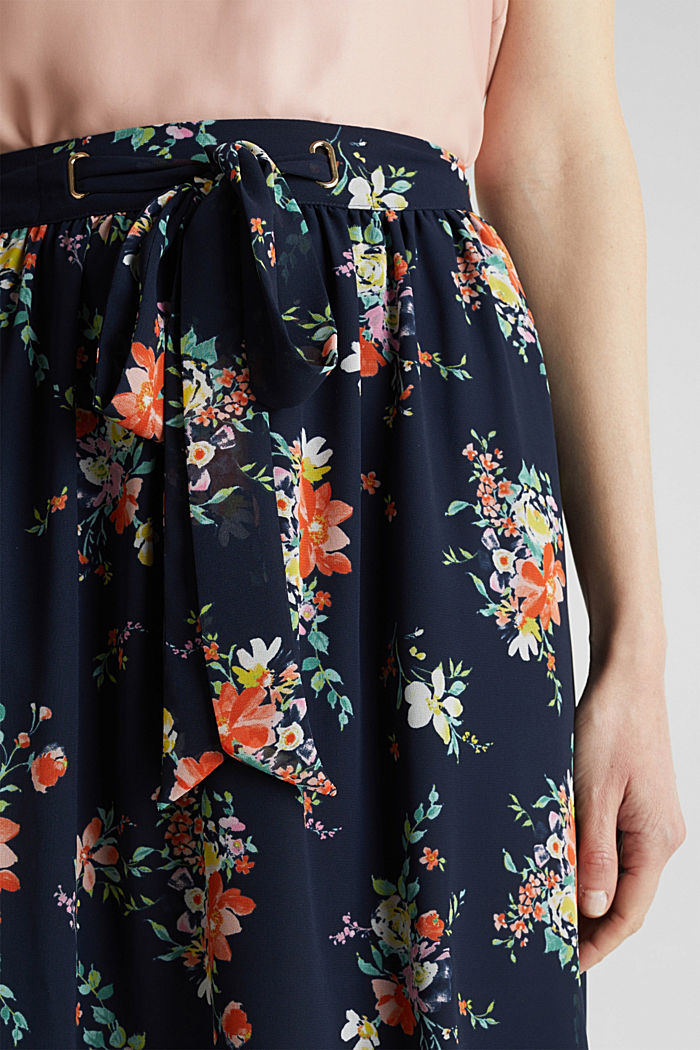 Skirt in floral crêpe chiffon, NAVY, detail image number 2