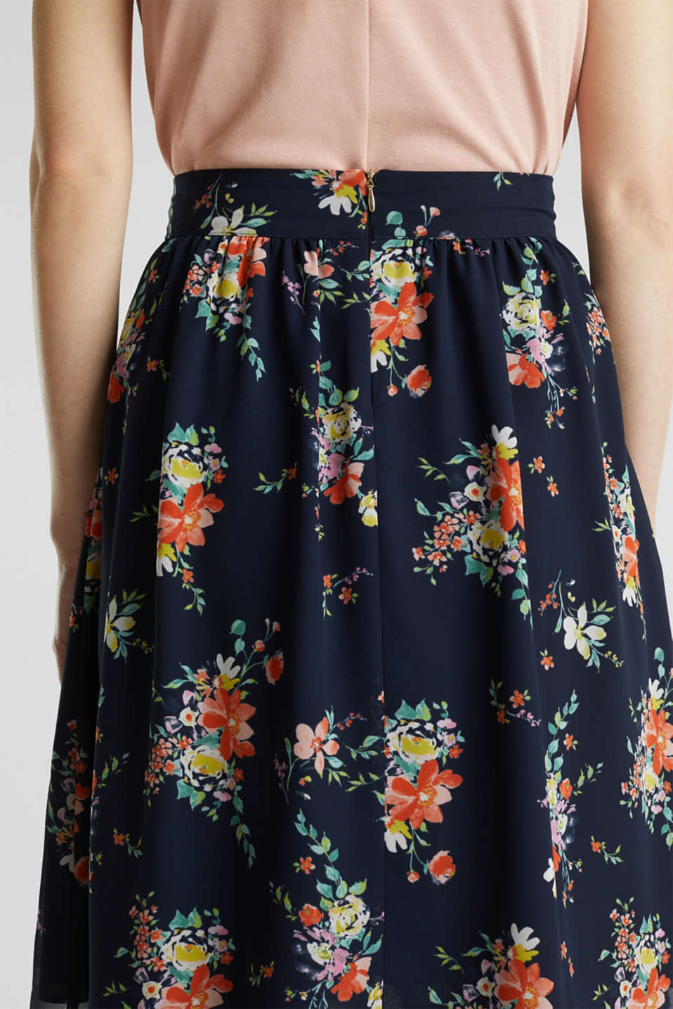 Skirt in floral crêpe chiffon, NAVY 4, detail image number 5