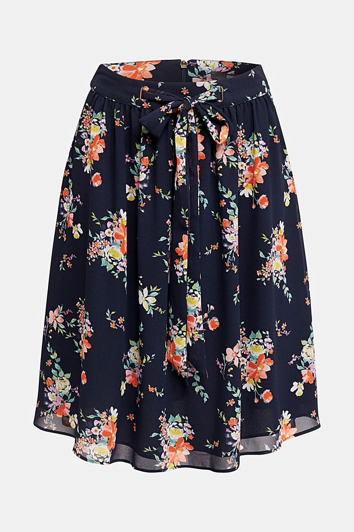 Skirt in floral crêpe chiffon, NAVY, detail image number 7