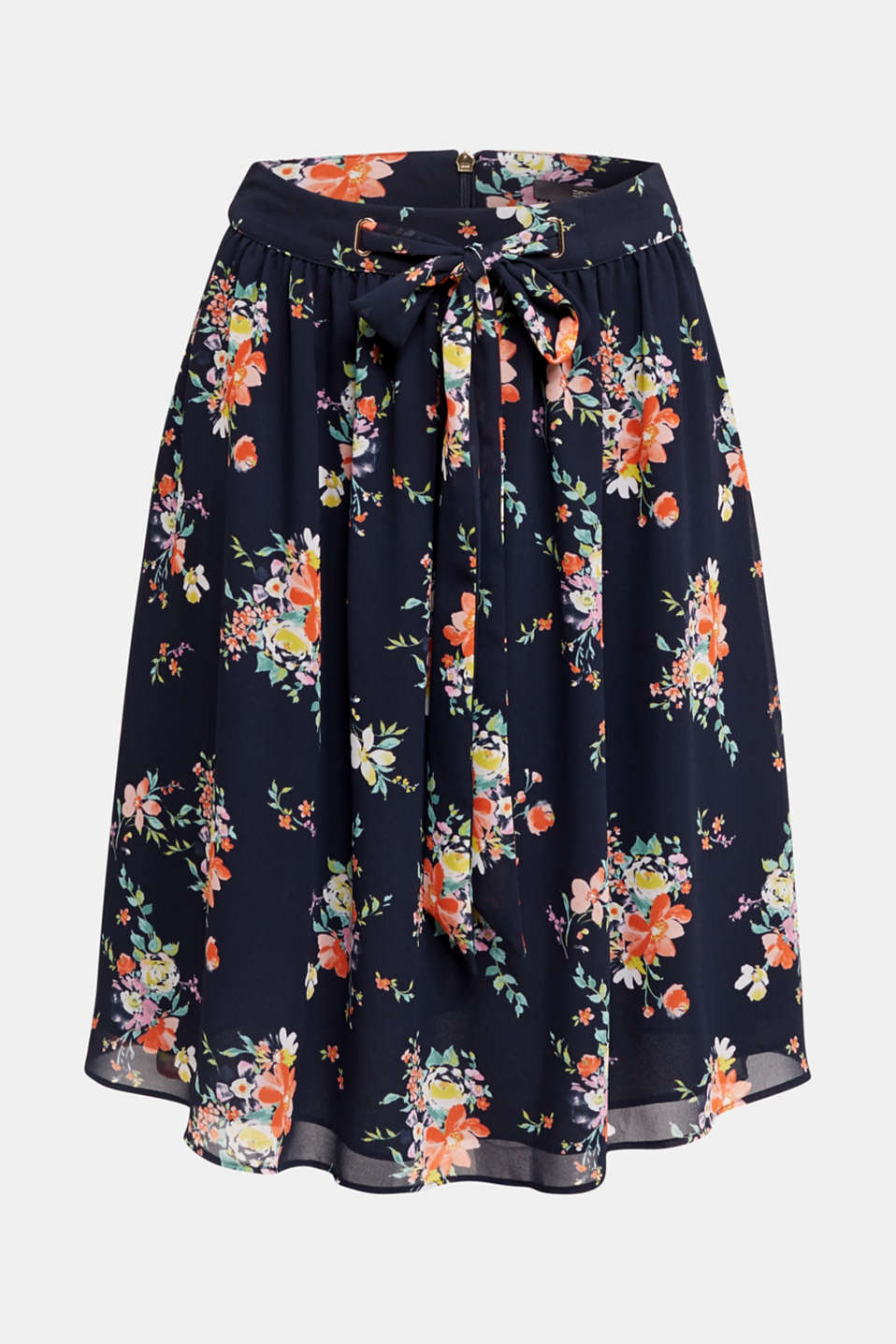Skirt in floral crêpe chiffon, NAVY 4, detail image number 7