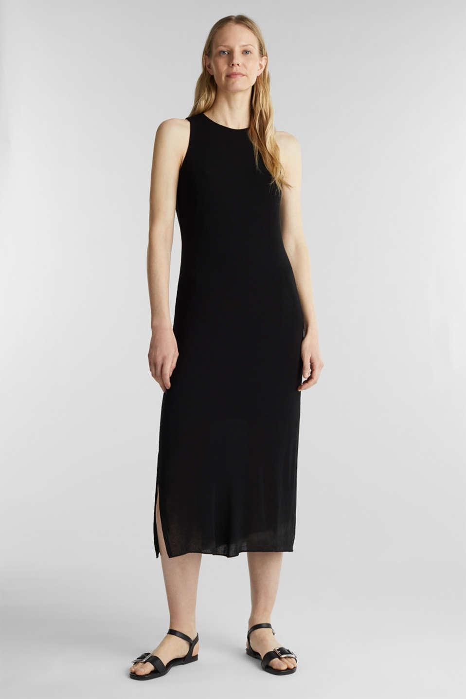 Crêpe jersey maxi dress, BLACK, detail image number 0