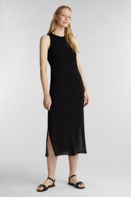 Crêpe jersey maxi dress, BLACK, detail