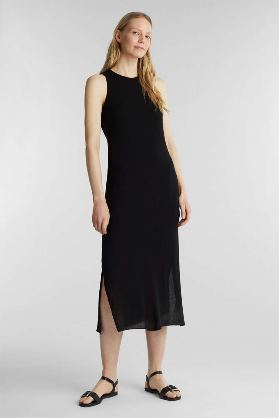 Crêpe jersey maxi dress, BLACK, detail image number 1