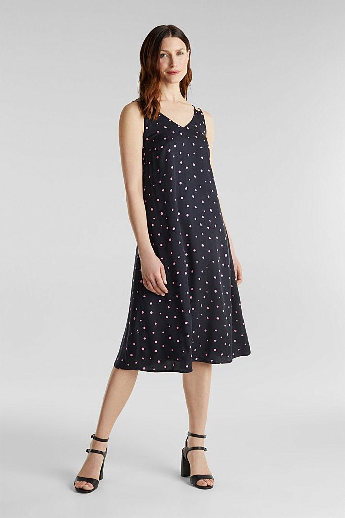Printed dress made of LENZING™ ECOVERO™, BLACK, detail image number 0