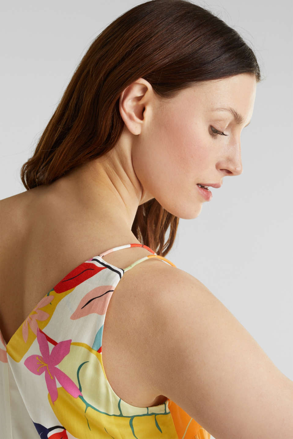 Printed dress made of LENZING™ ECOVERO™, OFF WHITE 4, detail image number 3