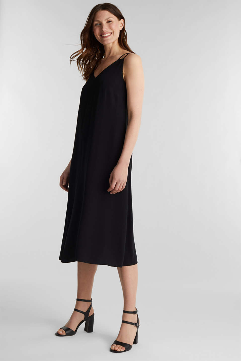 Made of LENZING™ ECOVERO™: Strappy dress, BLACK, detail image number 0