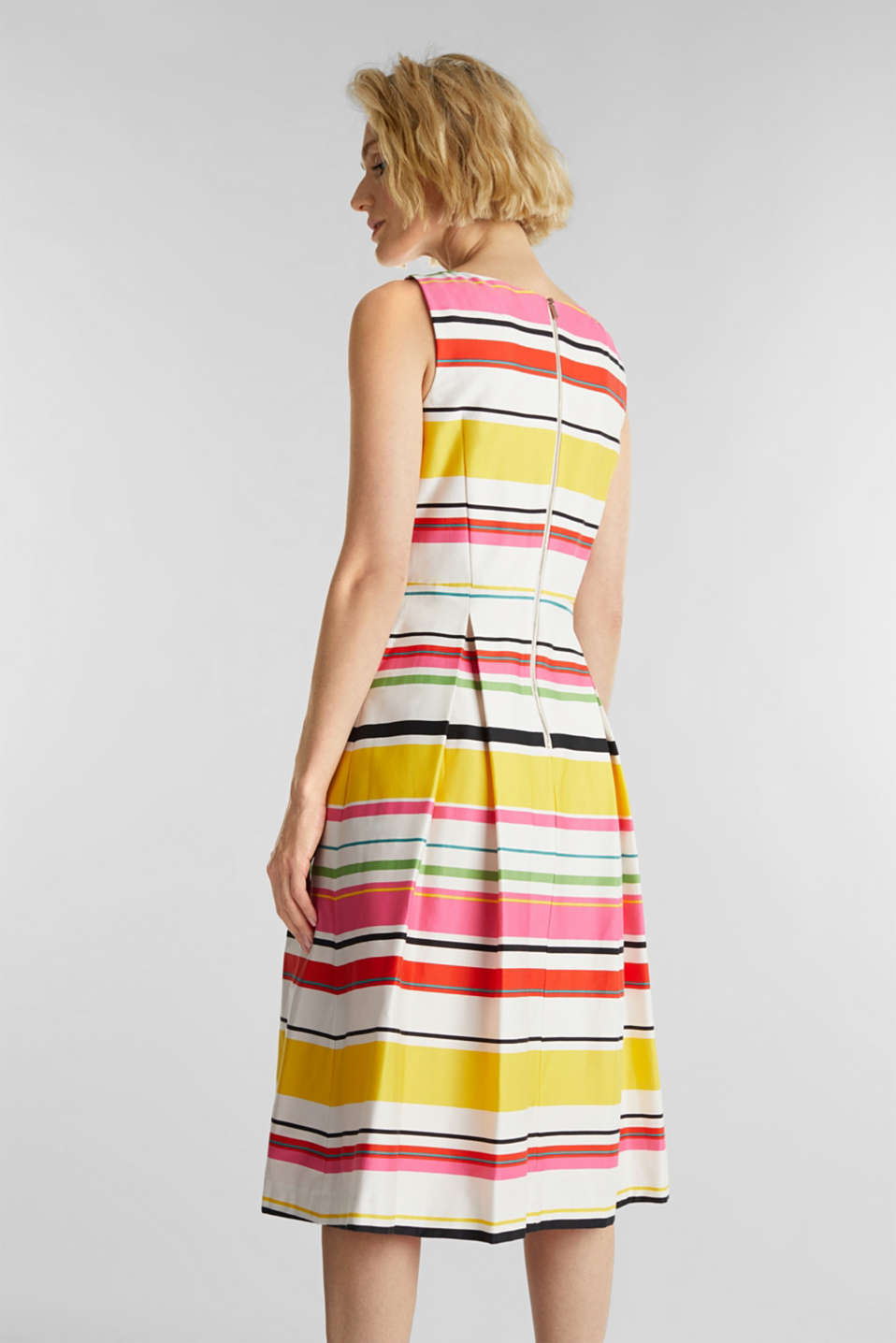 Striped dress made of stretch satin, WHITE 3, detail image number 3
