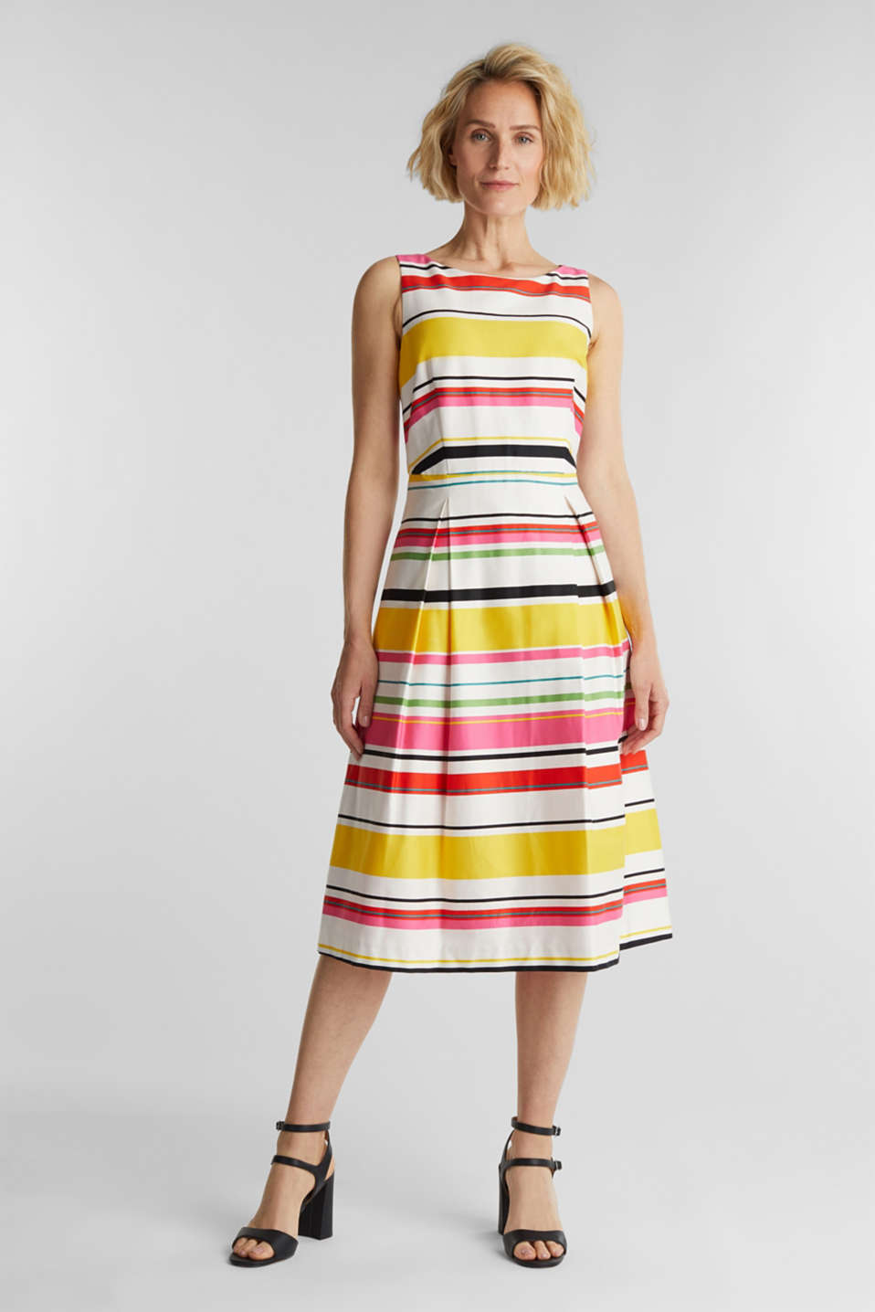 Striped dress made of stretch satin, WHITE 3, detail image number 1