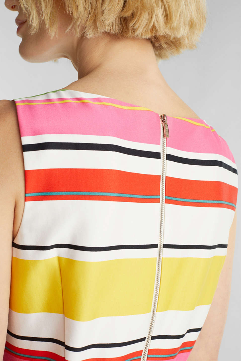 Striped dress made of stretch satin, WHITE 3, detail image number 2