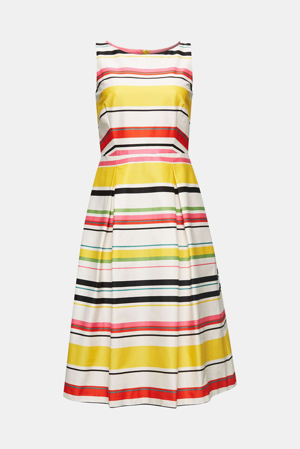 Striped dress made of stretch satin, WHITE 3, detail image number 4