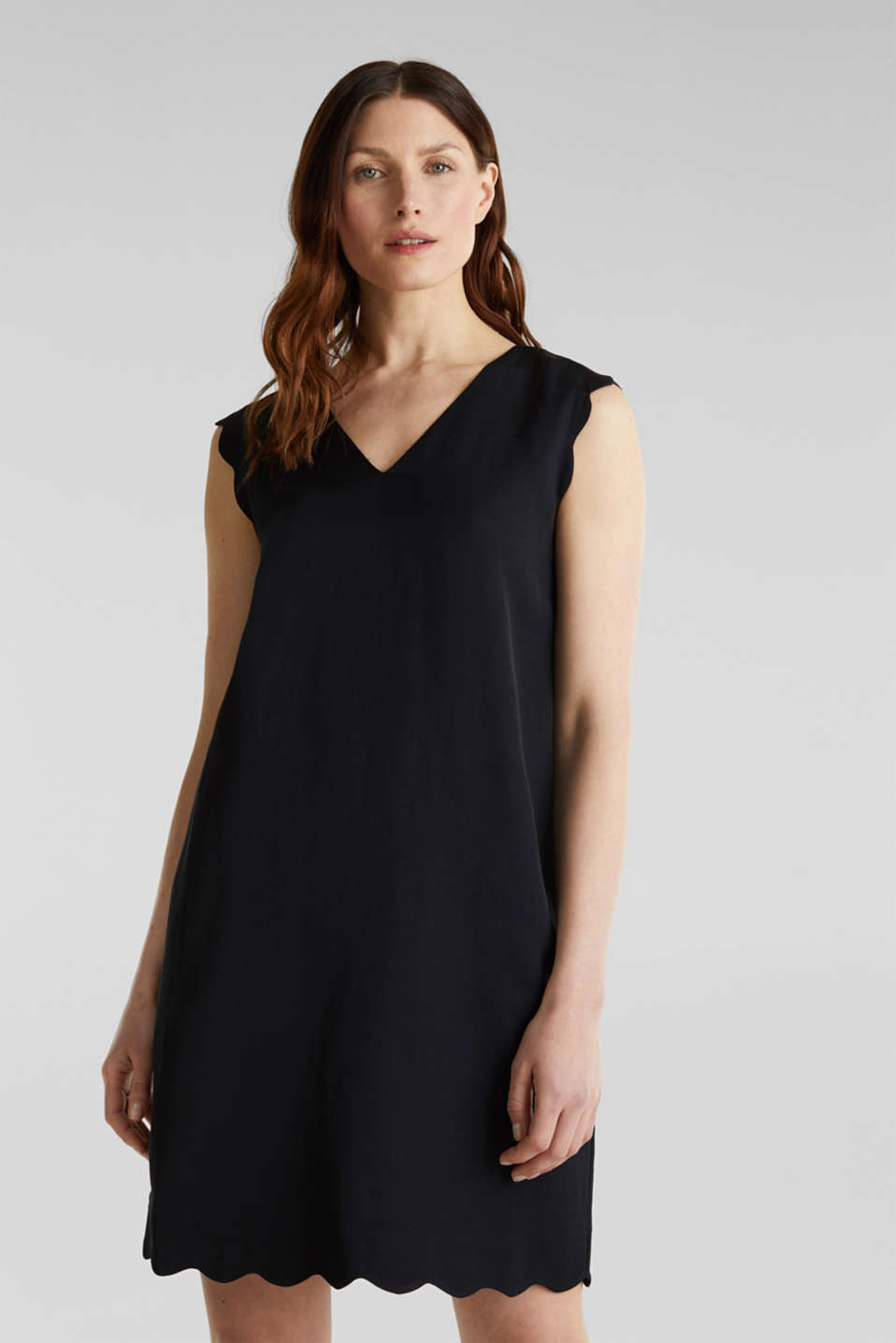 Linen blend: dress with wavy edges, BLACK, detail image number 0
