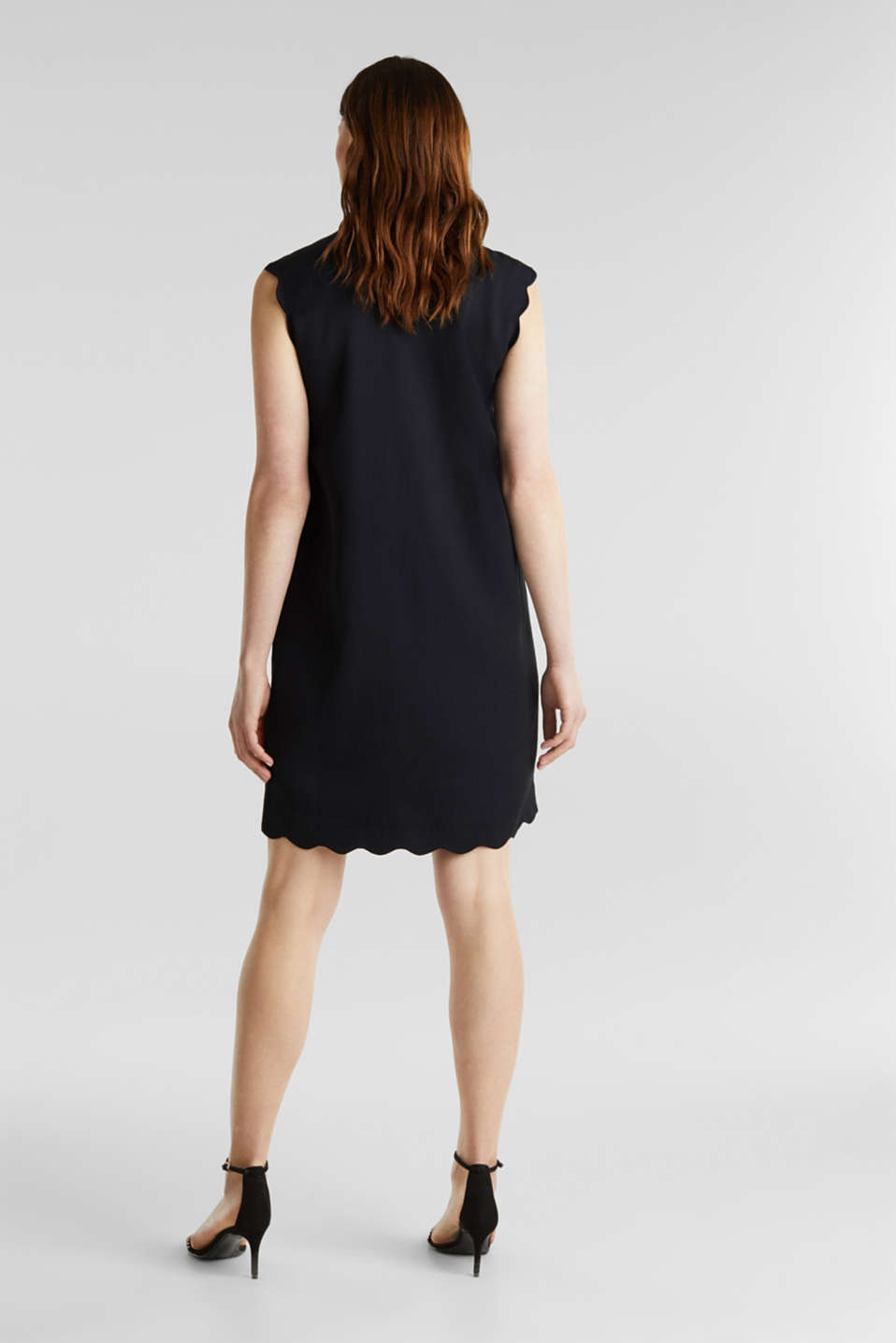 Linen blend: dress with wavy edges, BLACK, detail image number 2