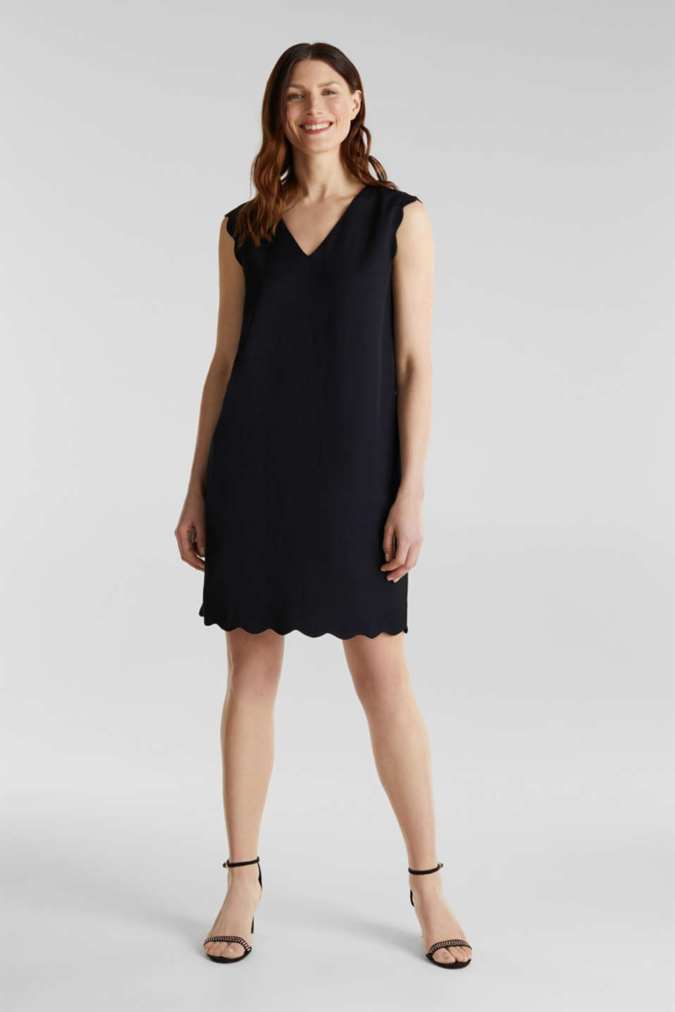 Linen blend: dress with wavy edges, BLACK, detail image number 1