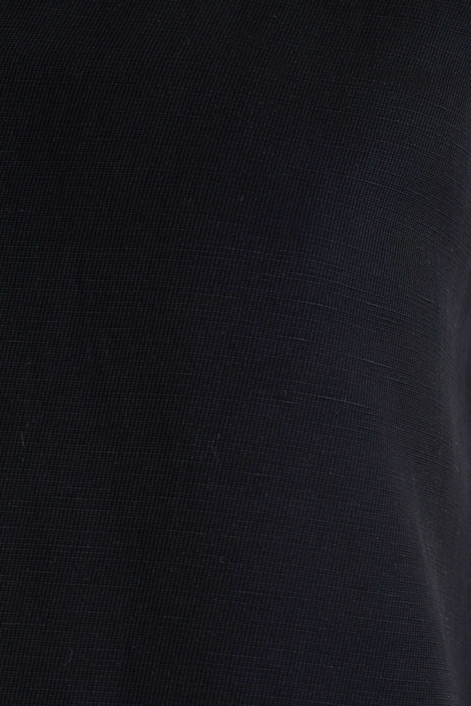 Linen blend: dress with wavy edges, BLACK, detail image number 4