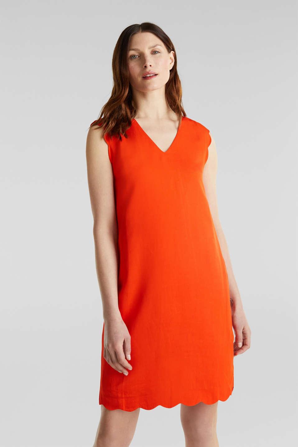 Linen blend: dress with wavy edges, RED ORANGE, detail image number 0