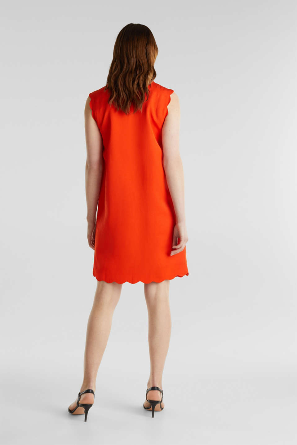 Linen blend: dress with wavy edges, RED ORANGE, detail image number 2
