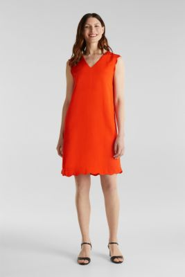 Linen blend: dress with wavy edges, RED ORANGE, detail
