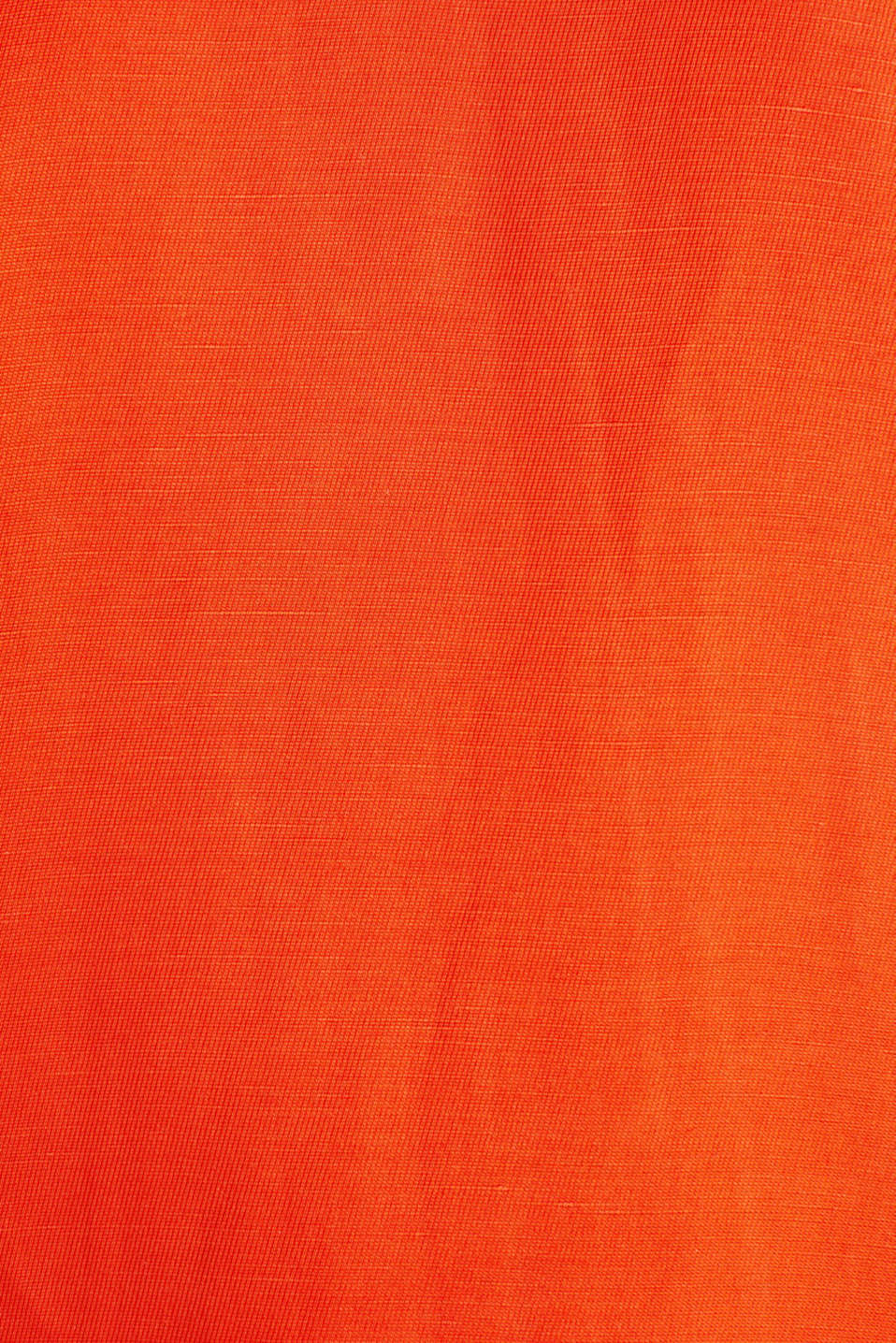 Linen blend: dress with wavy edges, RED ORANGE, detail image number 3