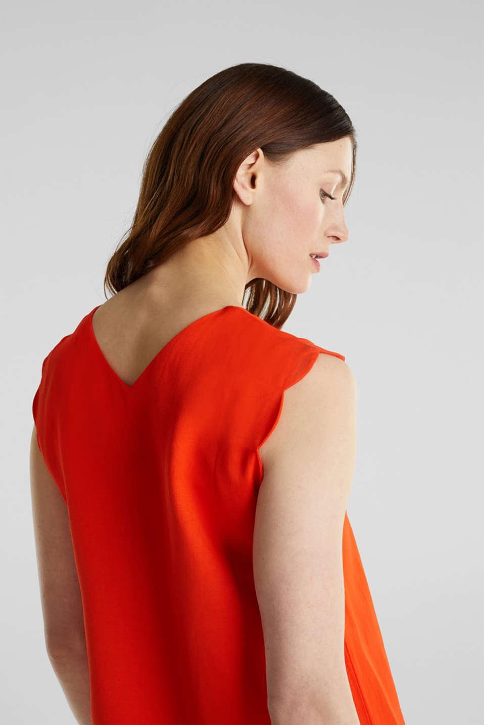 Linen blend: dress with wavy edges, RED ORANGE, detail image number 4