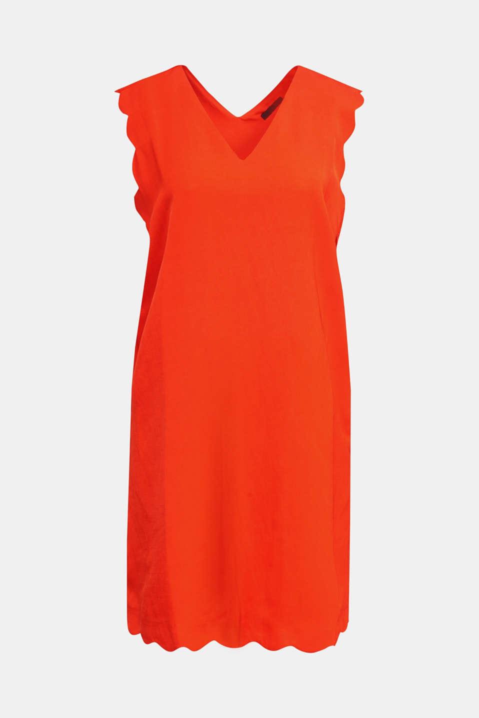 Linen blend: dress with wavy edges, RED ORANGE, detail image number 5