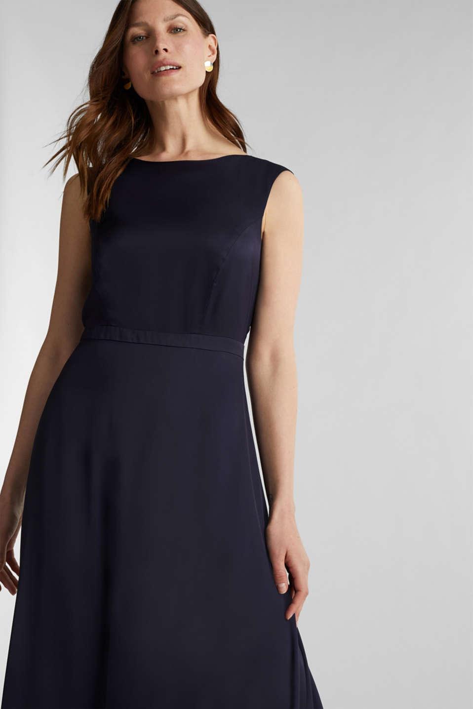 Satin maxi dress made of LENZING™ ECOVERO™, NAVY, detail image number 0
