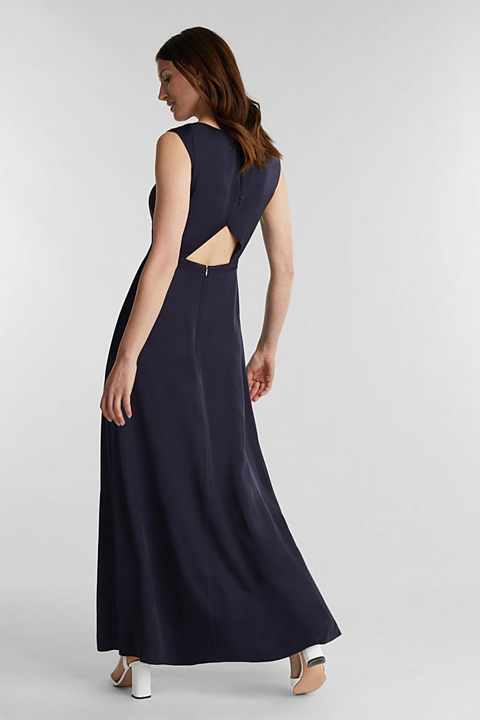 Satin maxi dress made of LENZING™ ECOVERO™, NAVY, detail image number 2