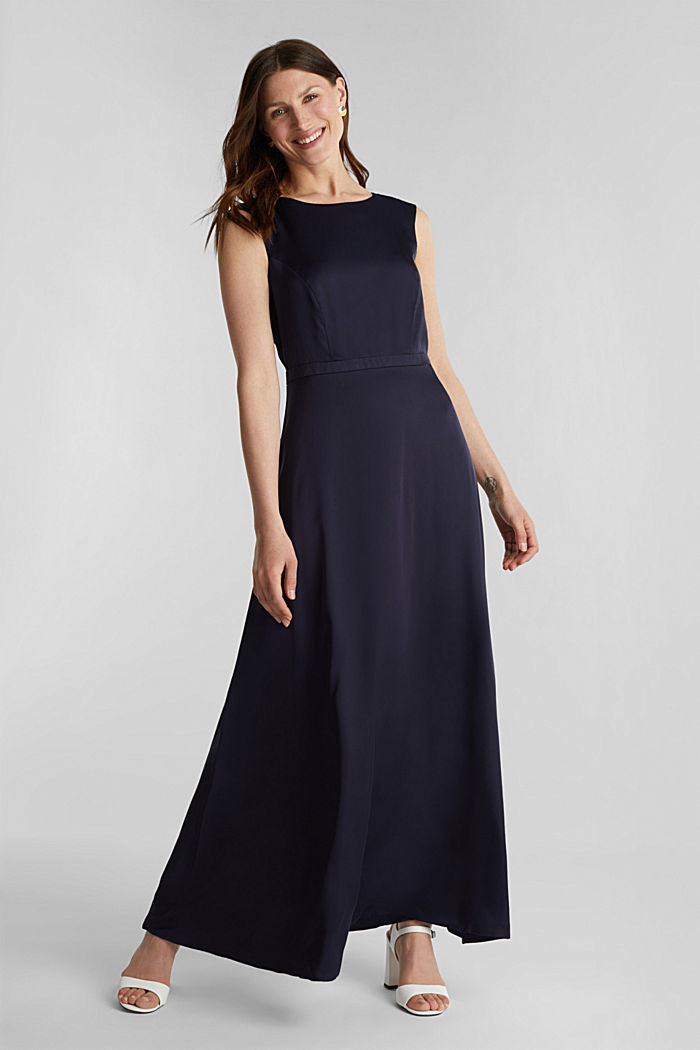 Satin maxi dress made of LENZING™ ECOVERO™, NAVY, detail image number 1