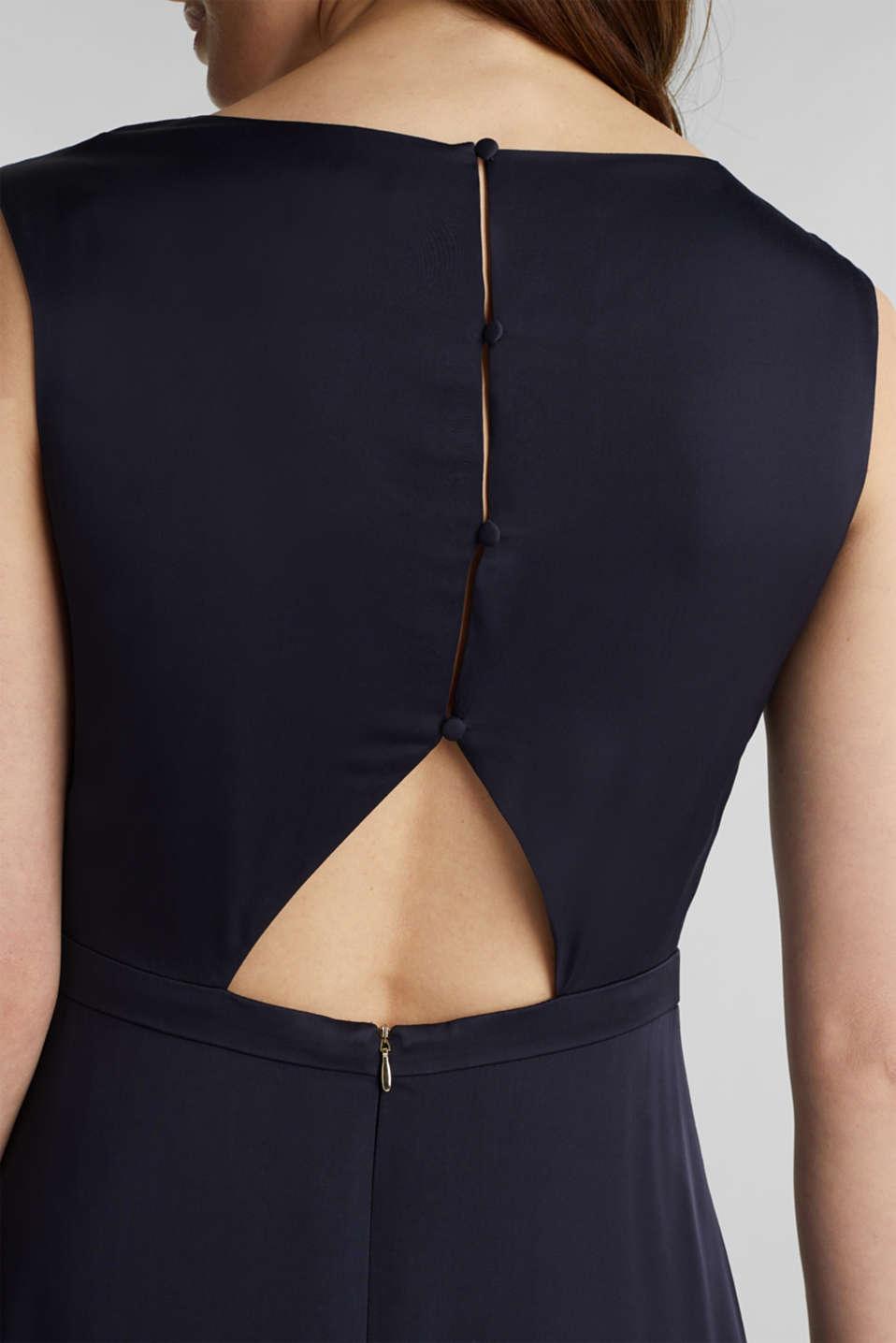 Satin maxi dress made of LENZING™ ECOVERO™, NAVY, detail image number 3