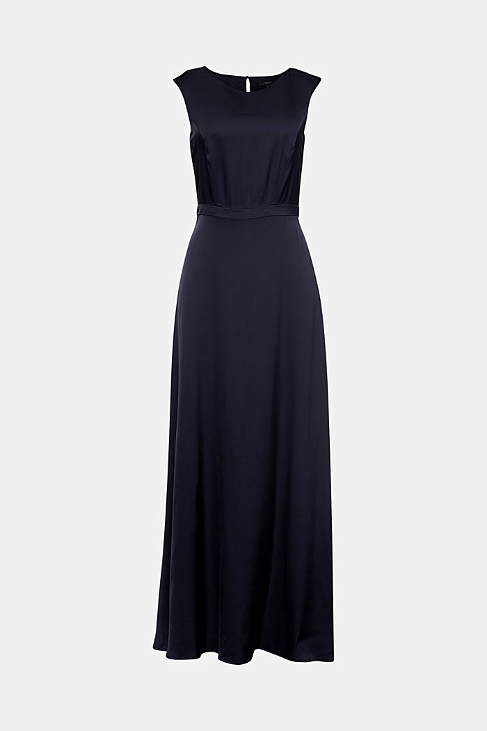 Satin maxi dress made of LENZING™ ECOVERO™, NAVY, detail image number 5