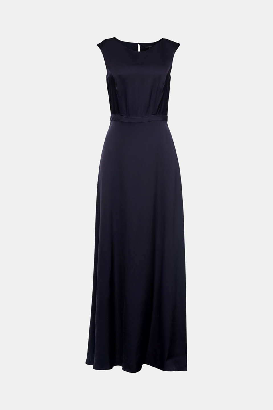 Satin maxi dress made of LENZING™ ECOVERO™, NAVY, detail image number 5