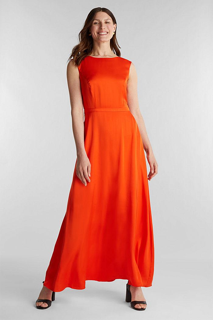 Satin maxi dress made of LENZING™ ECOVERO™, RED ORANGE, detail image number 0