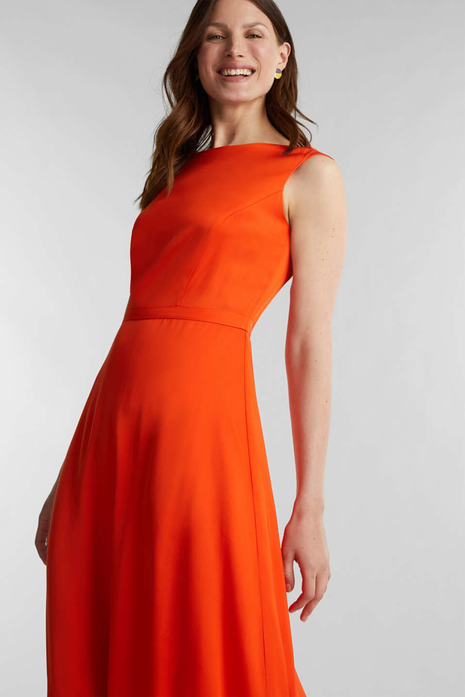 Satin maxi dress made of LENZING™ ECOVERO™, RED ORANGE, detail image number 5