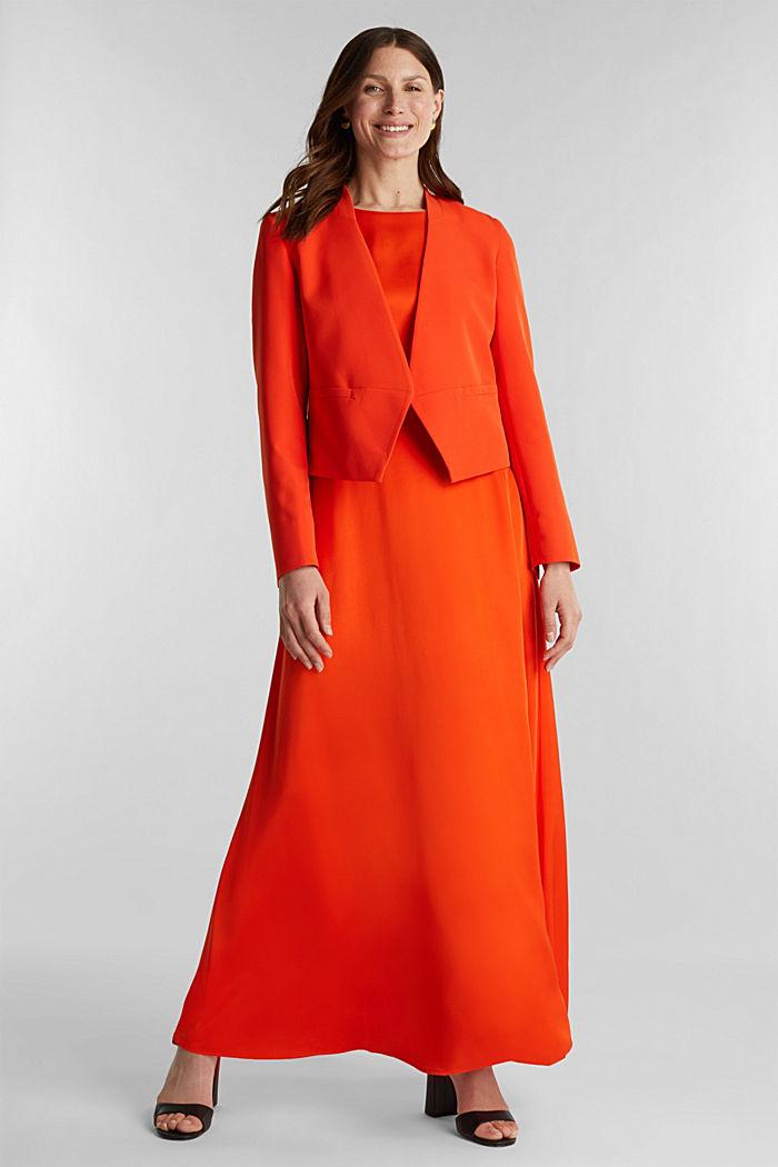Satin maxi dress made of LENZING™ ECOVERO™, RED ORANGE, detail image number 1