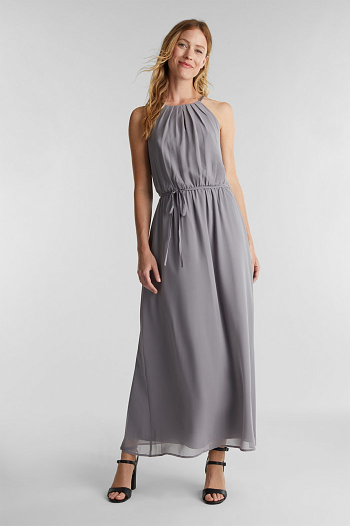 Recycled: maxi chiffon dress, GREY, detail image number 0