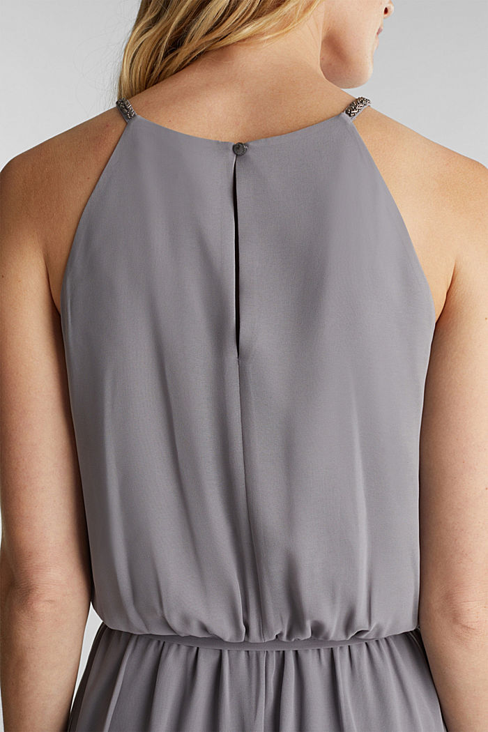 Recycled: maxi chiffon dress, GREY, detail image number 3