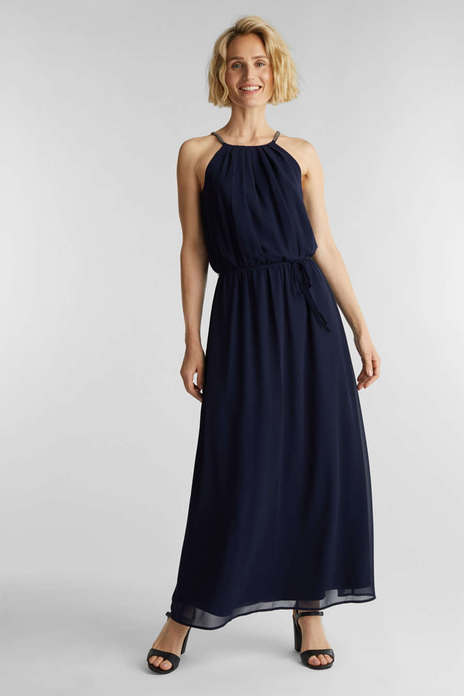 Recycled: maxi chiffon dress, NAVY, detail image number 0
