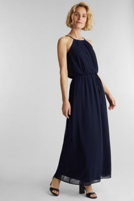 Recycled: maxi chiffon dress, NAVY, detail