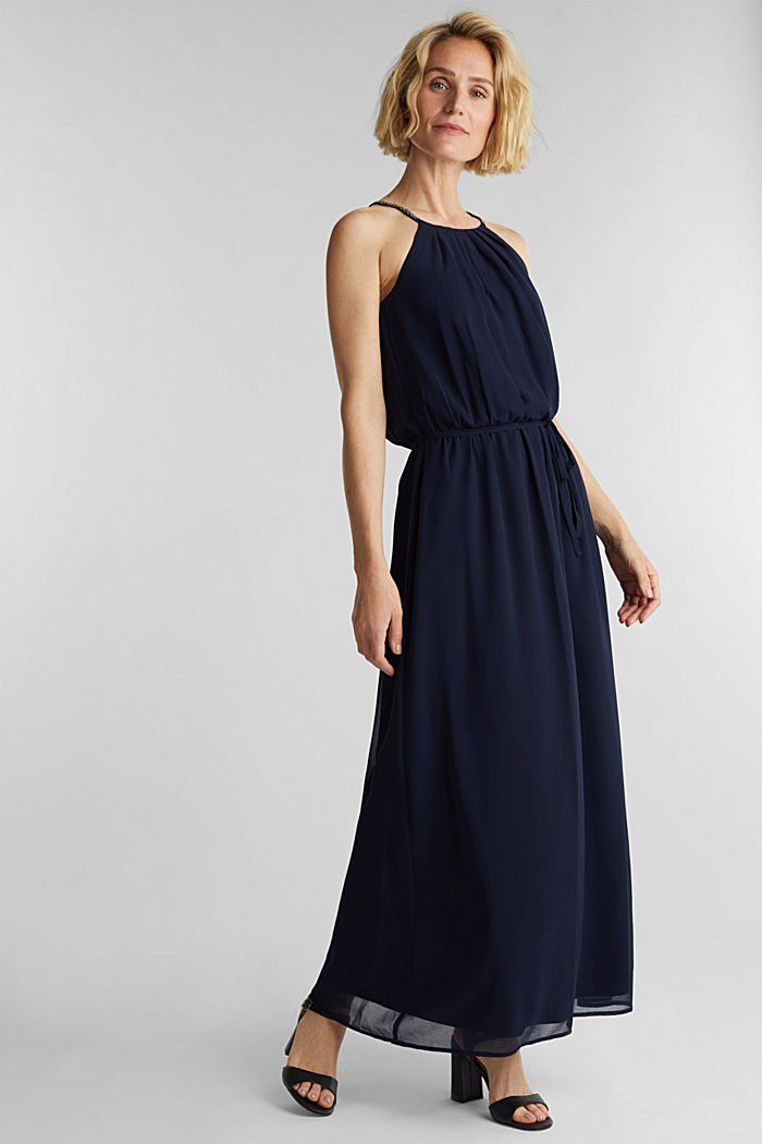 Recycled: maxi chiffon dress, NAVY, detail image number 1