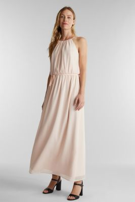Recycled: maxi chiffon dress, PASTEL PINK, detail