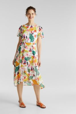 Chiffon dress with floral print, OFF WHITE 4, detail
