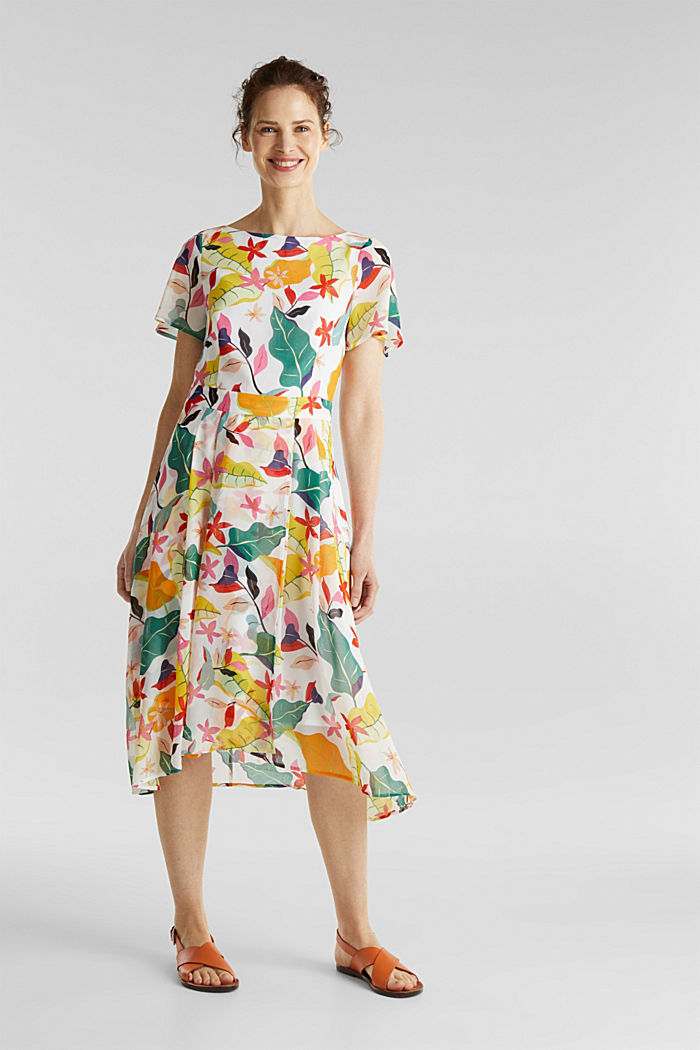 Chiffon dress with floral print, OFF WHITE, detail image number 0